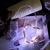 TAOtTAO 1 M 10 LED Pila de Botón Funciona con Pilas de Alambre de Cobre Plateado Mini Guirnalda de Luces, 0.02, Color Blanco