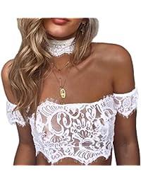 Eté Femme Tops Sexy Epaule Manches Courtes Crop Fashion Dentelle Creux Courtes  Haut T-Shirt ee78f0f3fb49