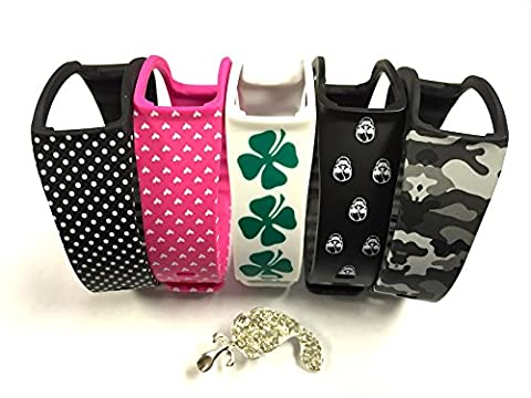 Set 1 White with Green Irish Clovers 1 Black with White Skulls 1 Camouflage Army 1 Black with White Dots 1 Pink with White Hearts Replacement Bands & Metal Clasps For Samsung Galaxy Gear Fit Bracelet Smart Wristband Activity Armband + Nice Crystals Feather Brooch