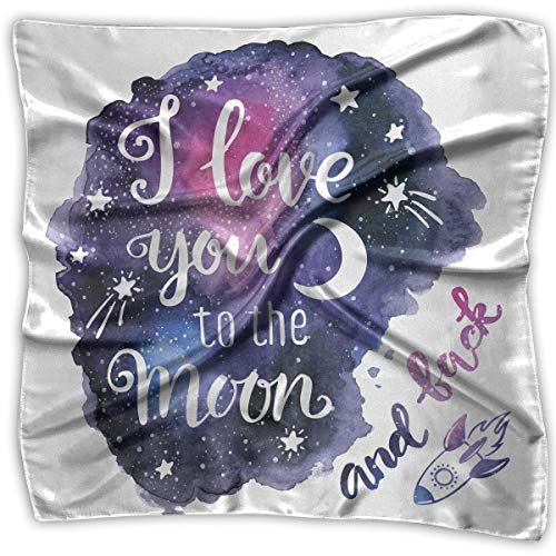 Reversible Seide Hosen (I Love You To The Moon And Come Back. Women's Square Scarf Headdress Multi-Purpose Fashion Scarves)