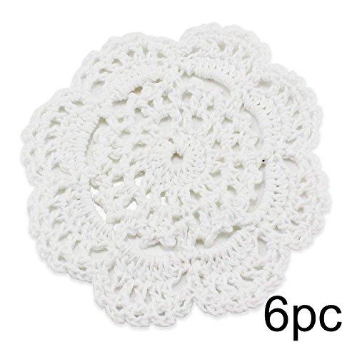 Psmgoods® - tovagliette all'americana in pizzo di cotone, realizzate a mano, rotonde, motivo a fiori, lavorazione all'uncinetto, set di 4 tovagliette, cotone, burlap, 8 flower 10cm white