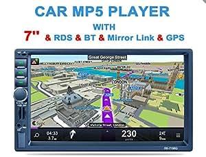 """VETOMILE Autoradio Bluetooth, Autoradio 2 Din 7"""" HD Touch Screen, Ricarica Veloce GPS Navigazione Controllo del Volante Radio FM/AM/RDS, USB/schede TF/AUX, Nero"""