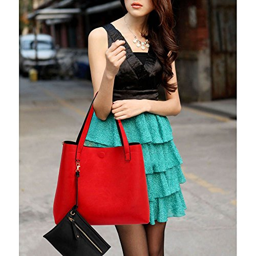 Trend Star Women Handbags Ladies Shoulder Tote Grab designer bags leatherette Z - Black / Red