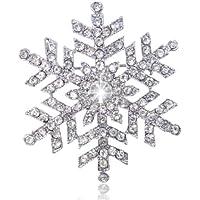 EVER FAITH® silver-tone Inverno Fiocco di neve Fiore cristallo Spilla austriaca - Diamante Gioielli Di Famiglia