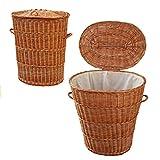 WO1 GalaDis ovaler Wäschekorb / Wäschesammler aus Weide geflochten (65 cm) mit Einsatz / Innensack und Deckel für die kleine Familie