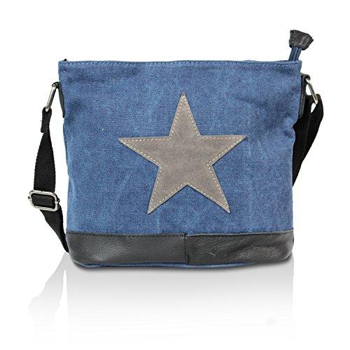 191917d2f6a6e Glamexx24 Damen Handtaschen Tasche Schultertasche Umhängetasche mit Stern  Muster Tragetasche TE201622 Blau