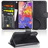 Arae Huawei P20 Pro Hülle, Handyhülle P20 Pro Tasche Leder Flip Cover Brieftasche Etui Schutzhülle für Huawei P20 Pro - Schwarz