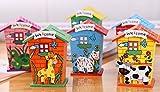 Ivebetter Cartoon casa in legno salvadanaio per monete contanti bambini salvadanaio risparmio