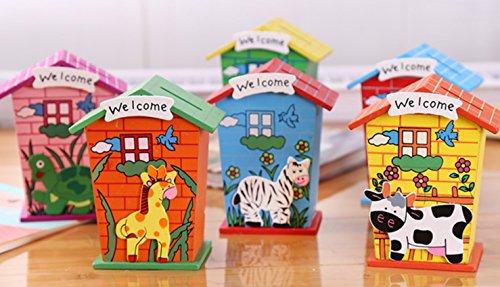 ivebetter Cartoon Holz Haus Spardose für Münzen Cash Kinder Sparschwein Saving Holz Piggy Bank