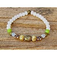 Buddha Armband mit Glasperlen - weiß, grün & bronze