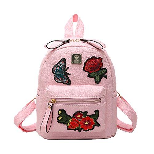 Neue PU Leder Sport Stickerei Mädchen Schultertasche Einfache Reiserucksack,Pink-S