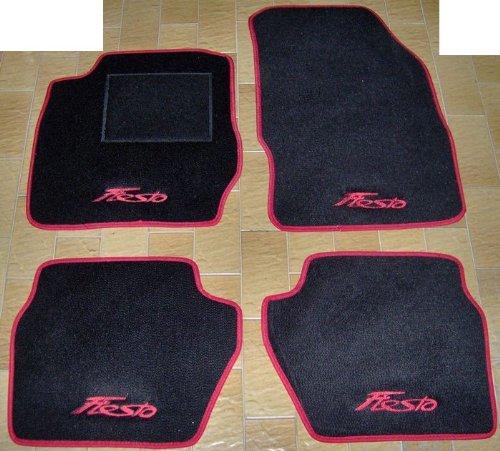 Tappeti per auto neri con bordo rosso, set completo di tappetini in moquette su misura con ricamo a filo rosso