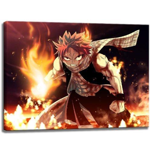 Fairytail, Natsu Motiv auf Leinwand im Format: 100x70 cm. Hochwertiger Kunstdruck als Wandbild. Billiger als ein Ölbild! ACHTUNG KEIN Poster oder Plakat! - Japan Anime-kunst-plakat