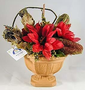 38° Parallelo Creations - Composizione floreale profumata circolare realizzata su vasetto di terracotta decorato - Idea regalo Made in Italy - CLS0200006 STELLA