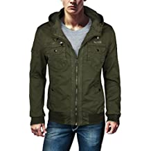 Trisens Chaqueta estilo militar para hombre, 100% algodón