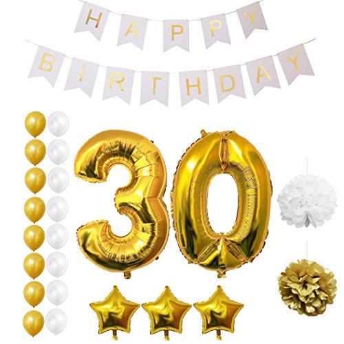 30. Geburtstag Luftballons Happy Birthday Banner Party Zubehör Set & Dekorationen von Belle Vous - Folienballons für den 30. Geburtstag ? Gold & Weiß Latex-Ballon-Dekoration - Dekor für alle Erwachsenen geeignet (Papier Piraten Hüte)