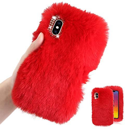 Weich Plüsch Hülle für iPhone XR,Rot Silikon Hülle für iPhone XR,Moiky Luxus Diamant Warme Hase Pelz Winter Flauschige Rabbit Pelz Soft TPU Handyhülle