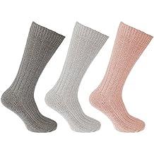 Universal Textiles Calcetines altos térmicos de lana para mujer (3 pares) (37-