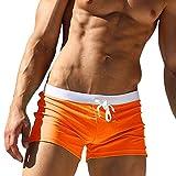 Mangotree Wassersport Schwimmen Trunks Herren Badehose Surfen Boardshorts Slips Kurze Badehose (EU M=L(Taille:28-30 inch), Orange)