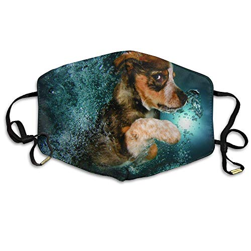 Daawqee Staubschutzmasken, Puppy On The Water Printed Mask Neutral Mask for Men and Women Polyester Dust-Proof Breathable Mask