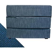 Arketicom TOUF, il Letto che diventa Puff, con Base in Jeans Azzurro e Fodera Esterna Blue Elettrico 80x63x45 cm (pouf puf pouff pouffe poggiapiedi)