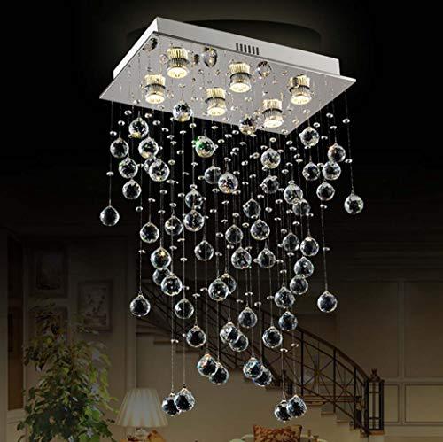 Yjmgrowing K9 Crystal Flush Mount LED Deckenleuchte Moderner quadratischer Kristallleuchter für Esszimmer-Beleuchtung, 6 * GU10 (50 * 30 * 80CM),3WLEDwarmlight (Crystal Flush Mount Beleuchtung)