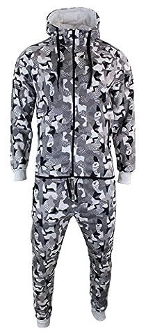 Survêtement homme style militaire camouflage sweat à capuche fermeture éclair pantalon élastiqué coupe
