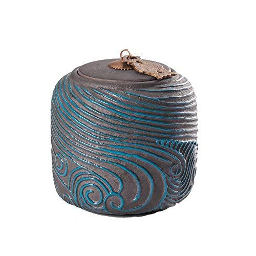uerurne Feuerbestattung Urne Für Pet Asche Kreative Retro Handgemalte Andenken, Blau,A ()