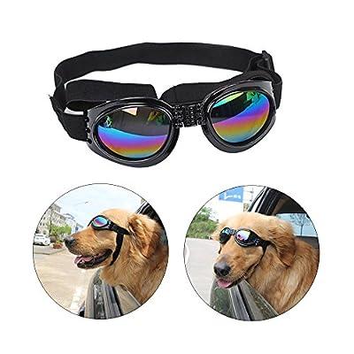 Angker Dog Goggles, Pet Glasses, Folding Pet Dog Sunglasses UV Protection Glasses Windproof Goggles Pet Dog Glasses(Black) by Angker