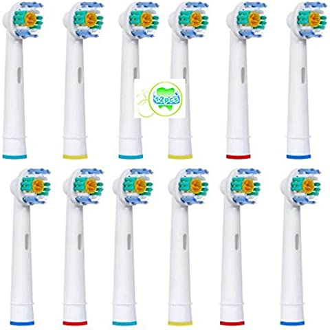 12 piezas (3x4) Sohv® Cabezales de recambio para cepillo de dientes eléctrico Oral-B 3D White (EB18-4). Plenamente compatibles con los modelos de cepillos de dientes eléctricos Oral-B Precision Vitality Clean, Vitality Floss Action, Vitality Sensitive Pro Vitality, White, Vitality Dual Clean, Vitality White, Clean and Professional Care, Triumph, Advance Power Series TriZone y Smart