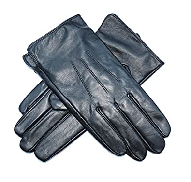 Jasmine Silk Mens Luxury Genuine Lambskin Leather Cashmere Lined Gloves BLACK (Small (7.5-8.5 Inches))