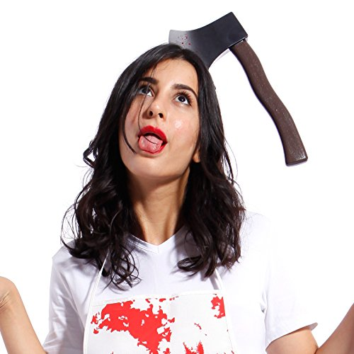 Ascia accetta mannaia insanguinato con cerchietto copricapo attraverso la testa sangue horror halloween