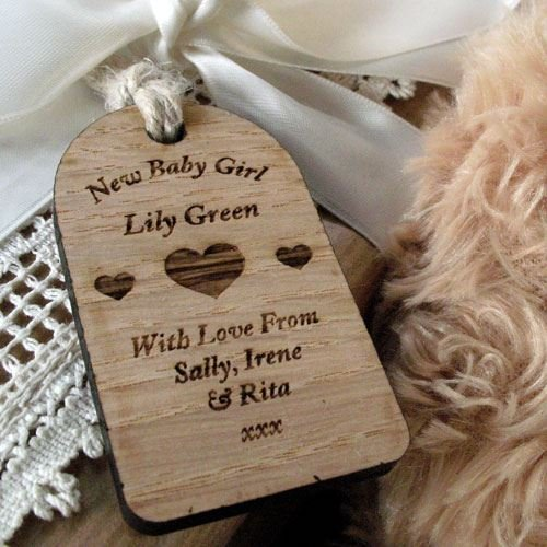 Engraved new baby girl gift, newborn keepsake, wooden gift tag, baby girl gifts, personalised baby girl gifts