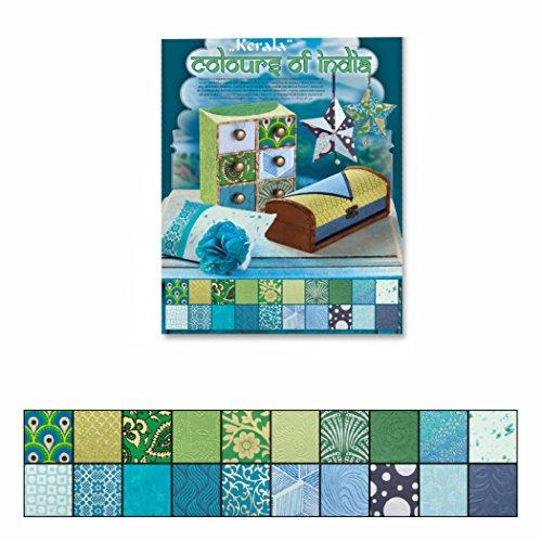 Naturpapier Block Colours of India DIN A4, blau/grün sortiert 20 Blatt