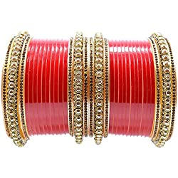 Balaji Collection Bridal Punjabi Stone Fashion Chuda Set for Women (Red)