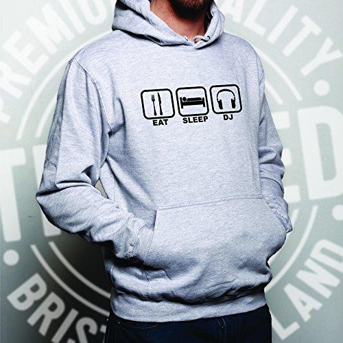 Eat Sleep freddo DJ bastona partito Techno DnB Garage House Music Unisex Con Cappuccio Grey