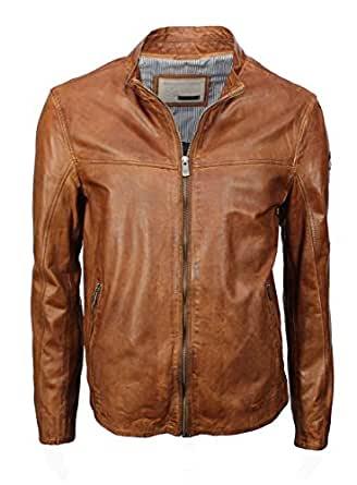 milestone men 39 s leather jacket brown cognac clothing. Black Bedroom Furniture Sets. Home Design Ideas