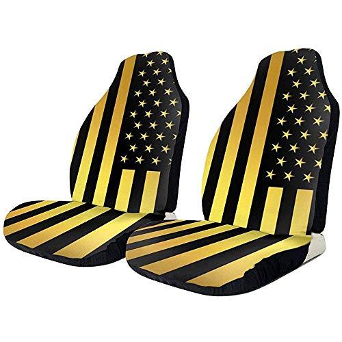 Drew Tours Autositzbezüge American Flag Gold und schwarz elastische Satteldecke mit Sitz Universal Car Seat Zubehör