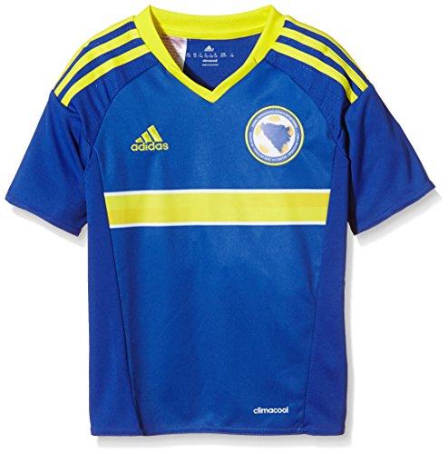 adidas Jungen Kurzarm Heimtrikot Bosnien-Herzegowina Replica Bold Blue/Bright Yellow, 128 (Frankreich Langarm Fußball-trikot)