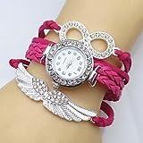 XKC-watches Relojes de Mujer, Banda de Tejido de Cuero Infinito ala Cristal del Reloj de Las Mujeres (Color : Rosado, Talla : para Mujer-Una Talla)