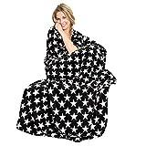 CelinaTex Moonlight Kuscheldecke Motiv Sterne, Mikrofaser Coral Fleece Decke, schwarz, XXL Tagesdecke 200 x 220 cm 5001118