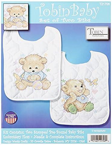 Tobin Baby Bears Bib Pair Stamped Cross Stitch Kit, 8 by 10-Inch, Set of 2