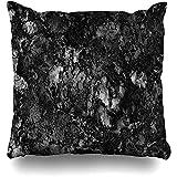 Fodera per cuscino per cuscino Linea di fodere in marmo grigio granito nero bianco dettaglio astratto roccia lucidata parete natura decorazioni per la casa 45x45 cm (18x18 pollici)