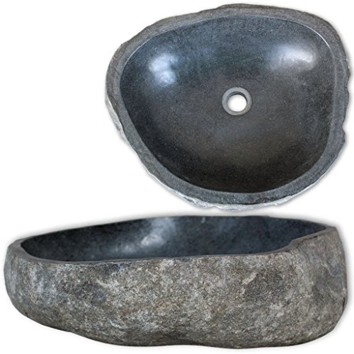 vidaXL Conca ovale lavandino lavabo lavello in pietra di fiume da bagno 40 cm