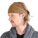 Casualbox Leinen Kopf Band Bandana natürlich elastisch Haarband Sport Mode Wickeln Kamel