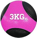 JOWY Balón Medicinal 3Kg de Caucho Natural y Sintético Entrenamiento de Fuerza o Rehabilitación | Pelota Medicinal 3Kg Rosa