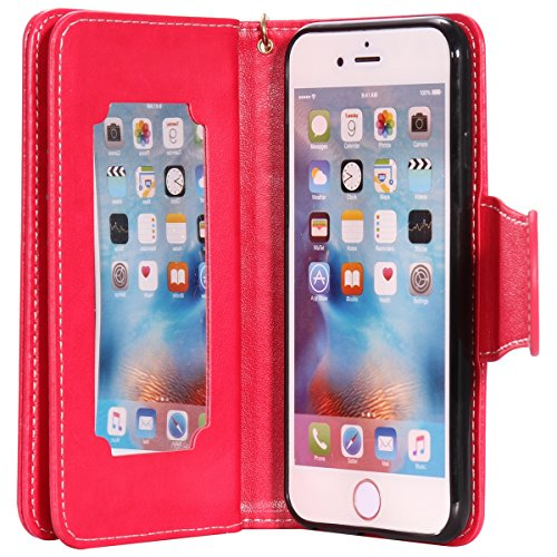 Custodia iPhone 6 - Cover iPhone 6S - ISAKEN Accessories Cover in PU Pelle Portafoglio Tinta Unita Custodia, Elegante Embossed Rose Pattern Design in Sintetica Ecopelle Libro Bookstyle Wallet Flip Por ragazza: rossa