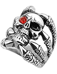 Piersando Herren Ring Edelstahl Biker mit XXL Totenkopf Klaue Kristall Auge Herrenring 22mm Breit Silber Rot