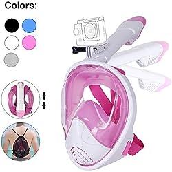 Unigear Masque de Plongée, Masque Snorkeling Plein Visage 180° Visible, Antibuée Anti-Fuite sous-Marine, Snorkel Masque avec la Support pour Caméra de Sport, Adapté pour Adulte et Enfant (Rose, S/M)