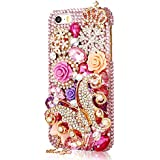 Mavis's Diary 3D Bling Rhinestone-Fall-Abdeckung Transparente Schmetterling Hard Shell Perlen und Rose-Blumen-harte Fall-Abdeckung für iPhone 5 Fälle